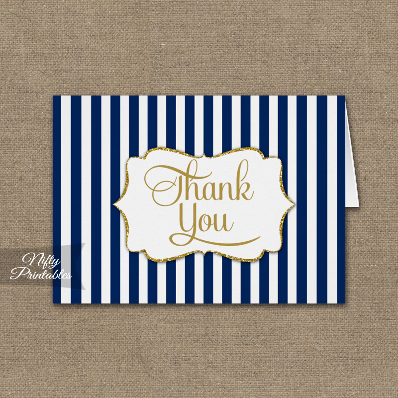 Navy Blue Gold Stripe Folded Thank You Cards Printed Nifty Printables