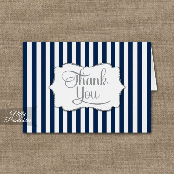 Navy Blue Silver Stripe Folded Thank You Cards PRINTED