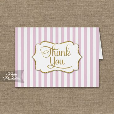 Pink White Gold Stripe Folded Thank You Cards PRINTED