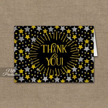 Stars on Black Folded Thank You Cards PRINTED