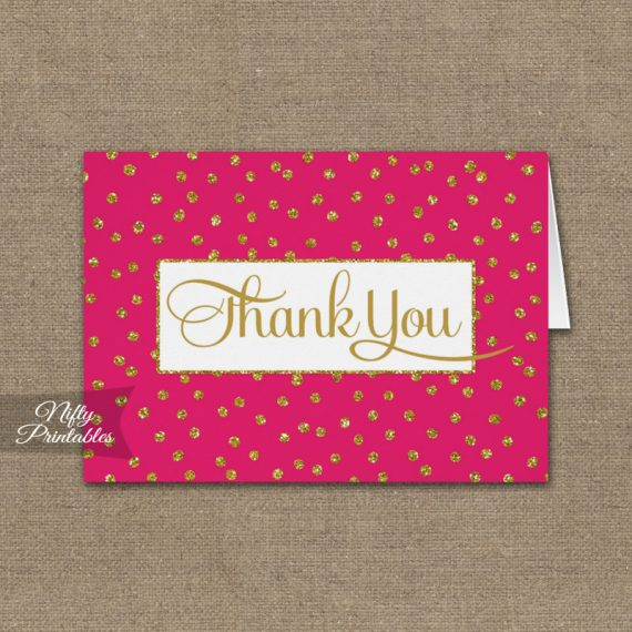 Hot Pink Gold Dots Folded Thank You Cards PRINTED