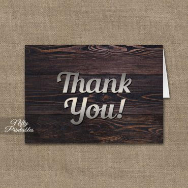 Men's Wood Silver Folded Thank You Cards PRINTED