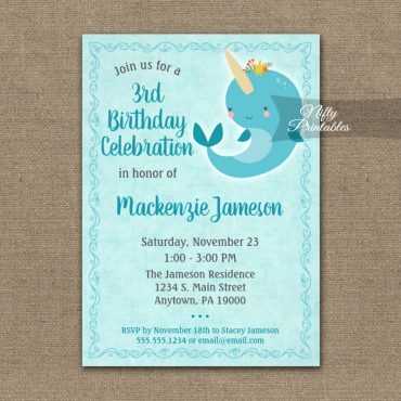 Birthday Invitation Narwhal Unicorn Whale PRINTED