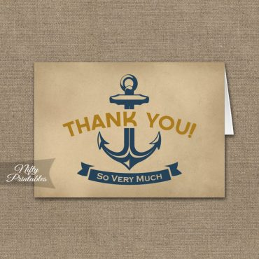 Vintage Nautical Folded Thank You Cards PRINTED