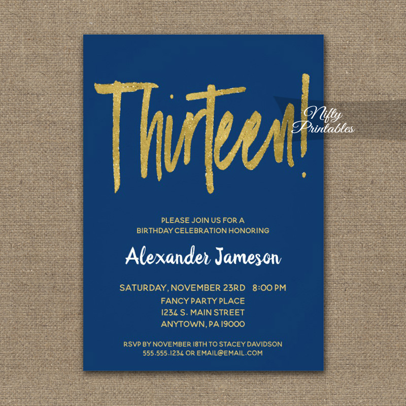 13th Birthday Invitation Navy Blue Gold Script PRINTED