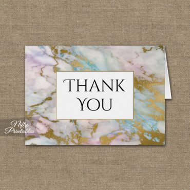 Pink Blue Gold Marble Folded Thank You Cards PRINTED