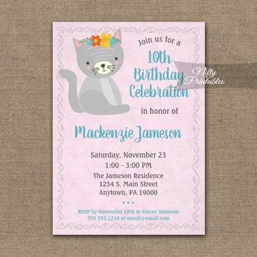 Birthday Invitation Pink Kitty Cat Kitten PRINTED