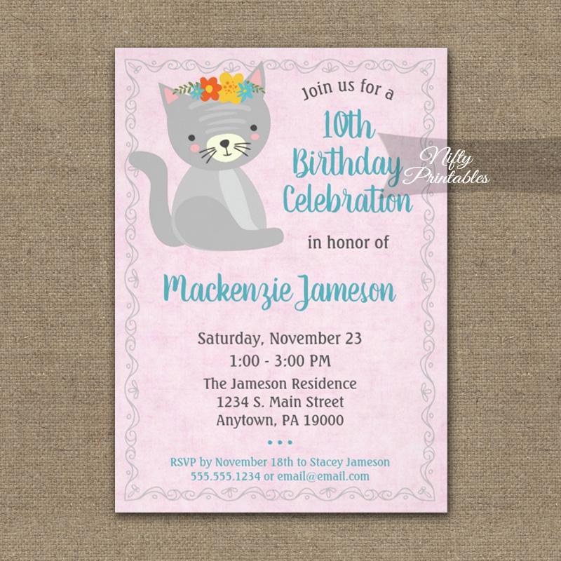 Birthday Invitation Pink Kitty Cat Kitten Printed Nifty Printables