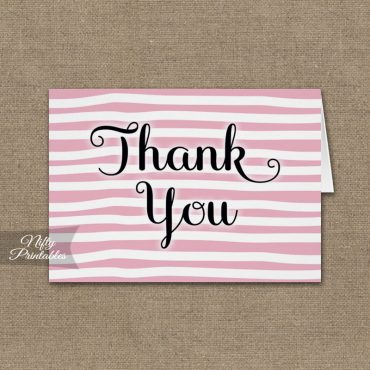 Pink Drawn Stripe Folded Thank You Cards PRINTED