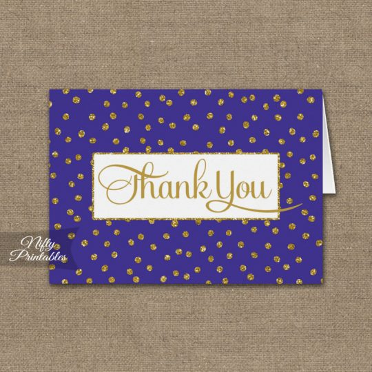 Purple Gold Dots Folded Thank You Cards PRINTED