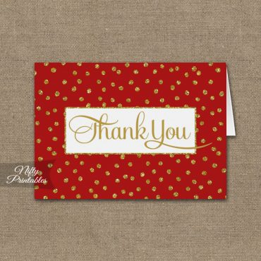 Red Gold Dots Folded Thank You Cards PRINTED