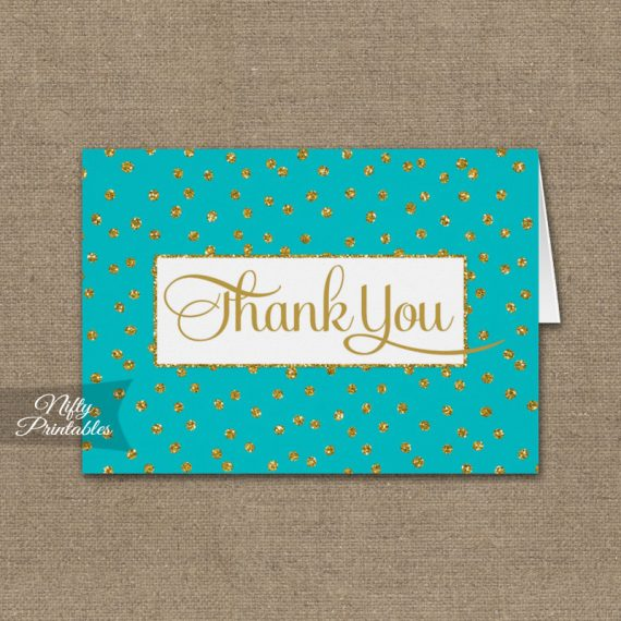 Turquoise Gold Dots Folded Thank You Cards PRINTED