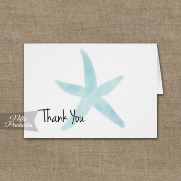Watercolor Starfish Folded Thank You Cards PRINTED