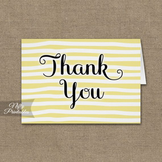 Yellow Drawn Stripe Folded Thank You Cards PRINTED