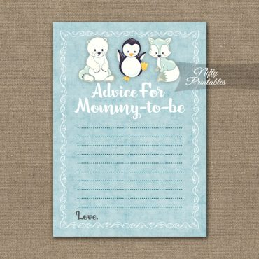 Advice For Mommy Baby Shower Game - Cute Winter Animals