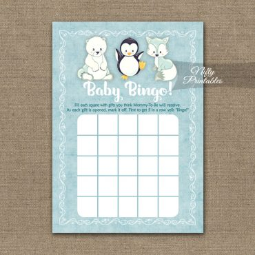 Baby Shower Bingo Game - Cute Winter Animals