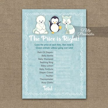 Price Is Right Baby Shower Game - Cute Winter Animals