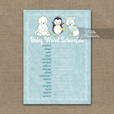 Baby Shower Word Scramble Game - Cute Winter Animals