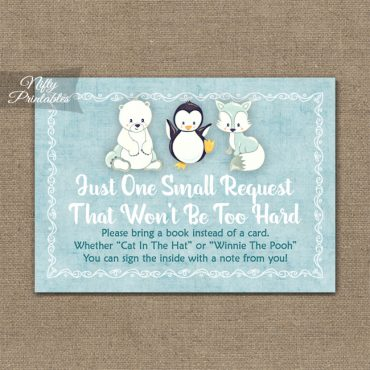 Bring A Book Baby Shower Insert - Cute Winter Animals
