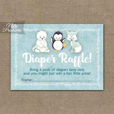 Diaper Raffle Baby Shower - Cute Winter Animals