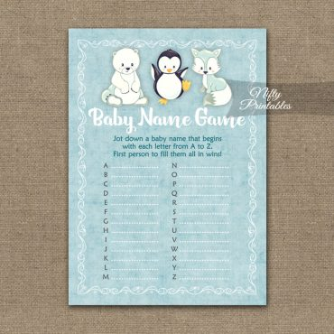 Name Game Baby Shower - Cute Winter Animals