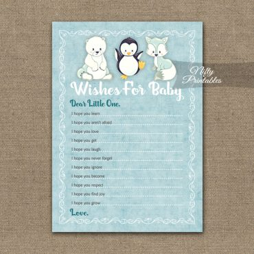 Wishes For Baby Shower Game - Cute Winter Animals