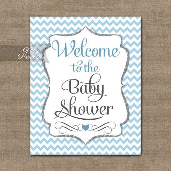 Baby Shower Welcome Sign - Blue Silver Chevron