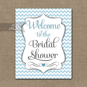 Bridal Shower Welcome Sign - Blue Silver Chevron