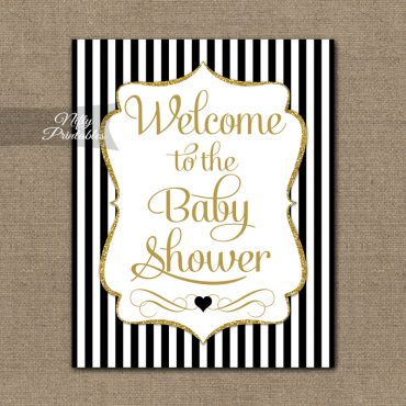 Baby Shower Welcome Sign - Black Gold Glitter Stripe