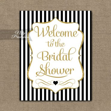 Bridal Shower Welcome Sign - Black Gold Glitter Stripe
