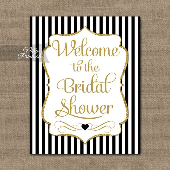 Bridal Shower Welcome Sign - Black Gold Glitter Stripe
