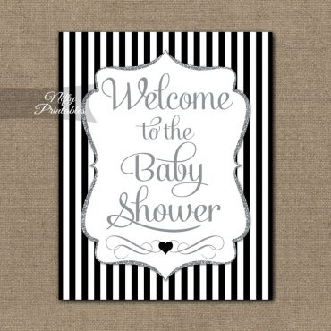 Baby Shower Welcome Sign - Black Silver Glitter Stripe