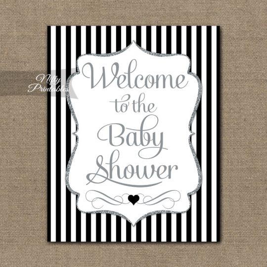 Baby Shower Welcome Sign - Black Silver Glitter Stripe