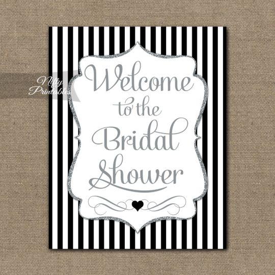 Bridal Shower Welcome Sign - Black Silver Glitter Stripe