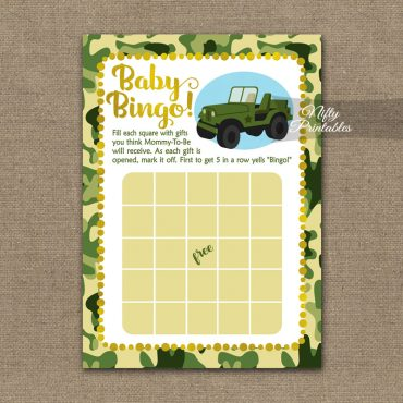 Baby Shower Bingo Game - Camo Army Jeep