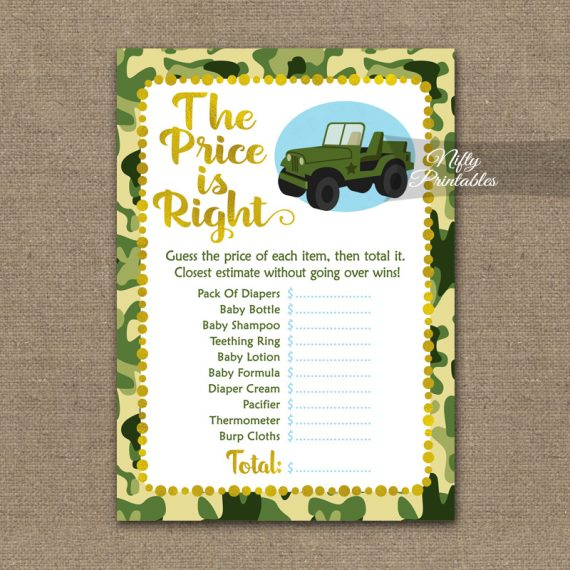 Price Is Right Baby Shower Game - Camo Army Jeep