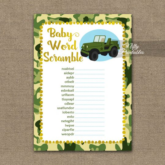 Baby Shower Word Scramble Game - Camo Army Jeep