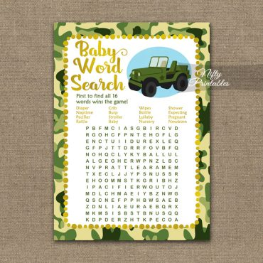 Baby Shower Word Search Game - Camo Army Jeep