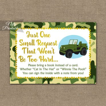 Bring A Book Baby Shower Insert - Camo Army Jeep