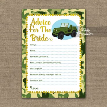 Bridal Shower Advice Cards - Camo Army Jeep