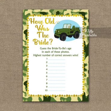 How Old Is The Bride Shower Game - Camo Army Jeep