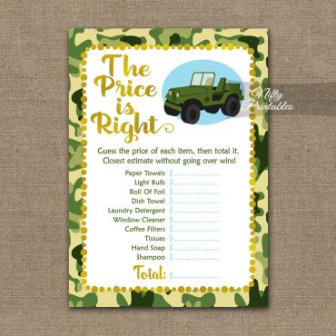 Price Is Right Bridal Shower Game - Camo Army Jeep