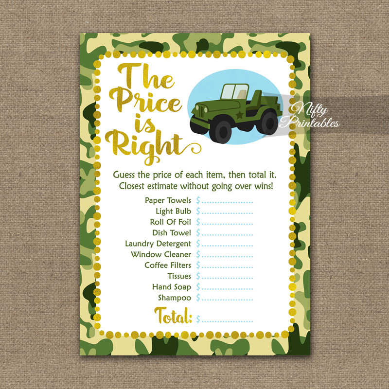 price is right bridal shower game camo army jeep
