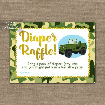Diaper Raffle Baby Shower - Camo Army Jeep