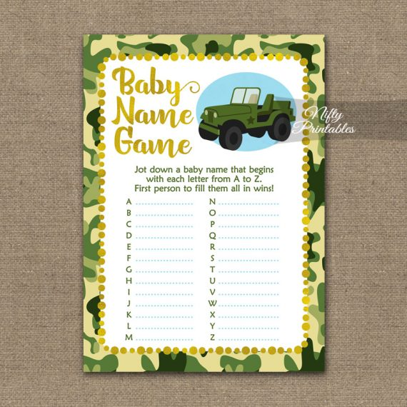 Name Game Baby Shower - Camo Army Jeep