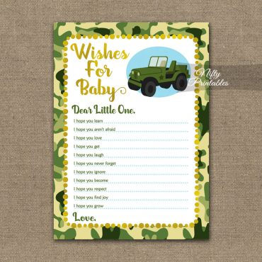 Wishes For Baby Shower Game - Camo Army Jeep