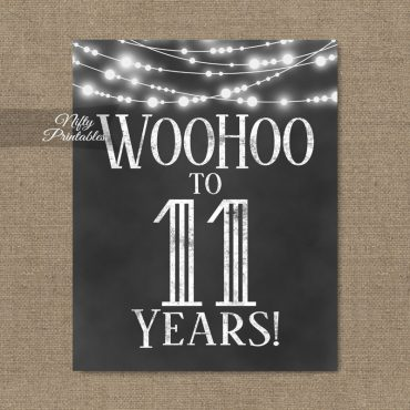 11th Birthday Sign - Chalkboard Lights