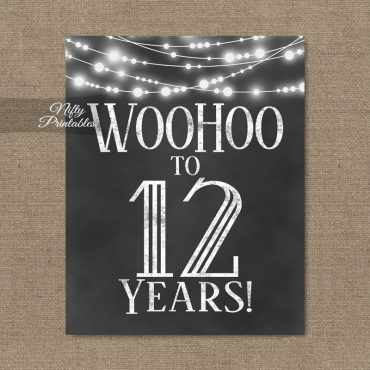 12th Birthday Sign - Chalkboard Lights