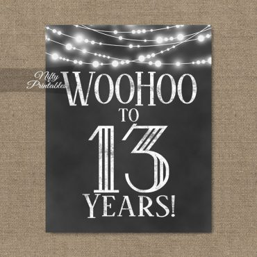 13th Birthday Sign - Chalkboard Lights