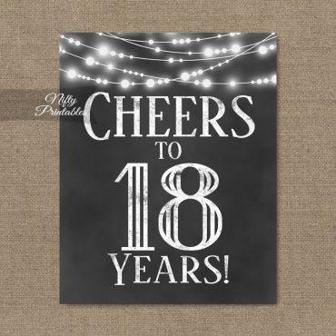 18th Birthday Sign - Chalkboard Lights